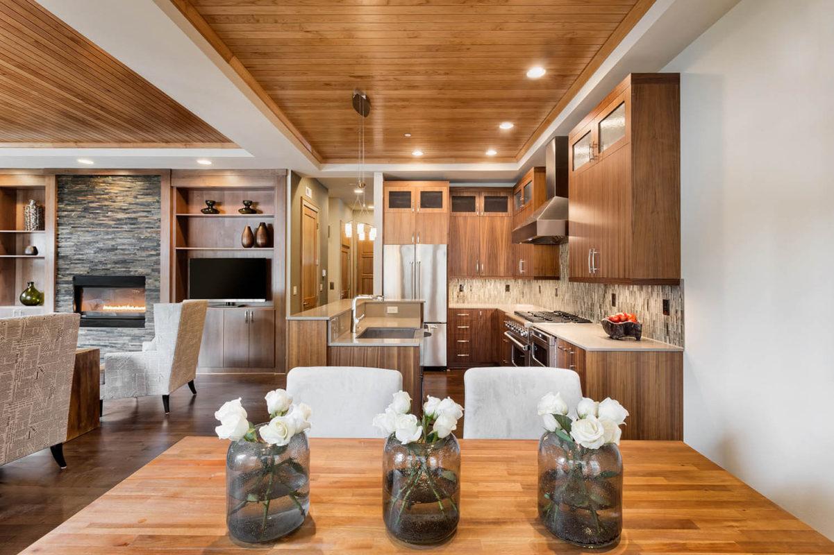 อลูมิเนียมคอมโพสิตลายไม้ ใช้กับฝ้าห้องครัว